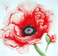 """Watercolour """"Mohnblüte"""" Maria Inhoven"""