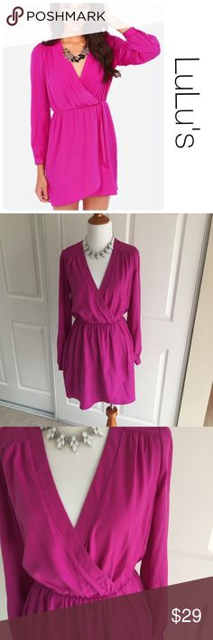 Lulu's fuchsia long sleeve mini dress size S ♦️Excellent condition. No holes, stains or piling.                                                 ♦️Materials- 100 polyester        ♦️Measurements:                               ♦️Laying flat armpit to armpit: approximately 18.5 inches                       ♦️Laying flat from the back of the neck to the bottom of the front hem is approximately 29.5 inches Lulu's Dresses Mini