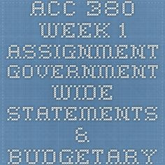 ACC 380 Week 1 Assignment Government-Wide Statements & Budgetary Comparison Schedule.