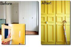 antes y después de pintar las puertas de un armario