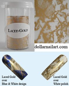 Laced Gold from DollarNailArt. Foil Nail Art, Foil Nails, Transfer Foil, White Polish, Gold Lace, Blue And White, Design