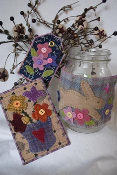 """""""Quick as a Bunny"""" wool applique mason jar wrap pattern is now available on Craftsy!! Includes directions for the tag and postcard too! Only $5"""