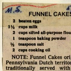 Funnel Cakes :: Historic Recipe Six Flags Funnel Cake Recipe, Pumpkin Funnel Cake Recipe, Funnel Cakes Recipe, Homemade Cake Recipes, Amish Recipes, Concession Stand Food, Fundraiser Food, Peppermint Cake, Carnival Food