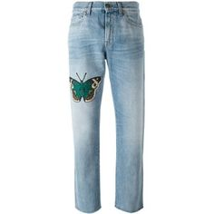 Gucci Jeans With Embroidered Butterfly