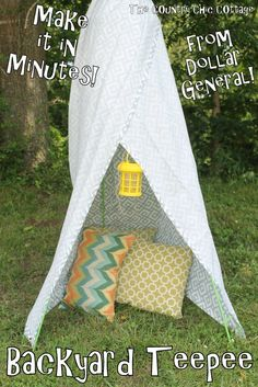 Backyard Teepee from Dollar General -- a fun way to spend an hour and build a teepee in your backyard. Let the summer fun roll!  #dollargeneral