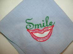 Lavender Red Lips Smile Embroidered Handkerchief by cajunstitchery, $10.00