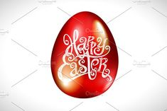 Happy easter red egg vector by Rommeo79 on @creativemarket