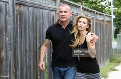 Actors Dominic Purcell and girlfriend AnnaLynne McCord seen on August 15, 2014 in Toronto, Canada.