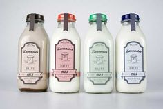 21-Lancaster Dairy Milk Packaging by Danielle Hop This packaging aims to promote a modern milk company that encourages recycling by using glass milk bottles. Vintage colors and feel were incorporated in the design to make it interesting.