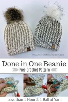 Done in One Beanie - Free Crochet Hat Pattern - A Crocheted Simplicity - - Learn how to crochet the knit-look Done in One Beanie. Done in one hour using less than 1 ball of yarn, the Done in One Beanie is perfect for craft fairs! Crochet Simple, Quick Crochet, Chunky Crochet, Knit Or Crochet, Crochet Scarves, Beginner Crochet Hat, Crocheted Hats, Modern Crochet, Beanie Pattern Free