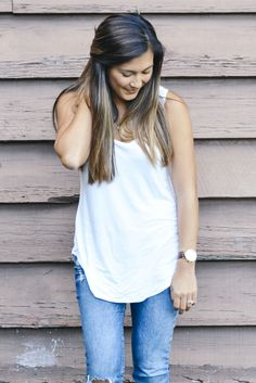 A Glimpse of Glam | Ripped Jeans and White Tank.