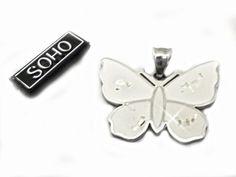 Dije mariposa con nacar de acero quirurgico SOHO