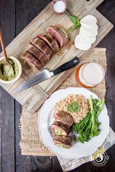 Mozzarella and Beer Pesto Stuffed Flank steak