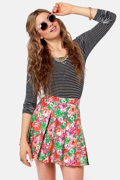 Adorbale Floral Print Skirt - Mini Skirt - Skater Skirt