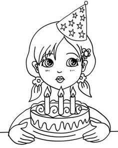 Girl Blowing Her Birthday Cake Candles Coloring Page