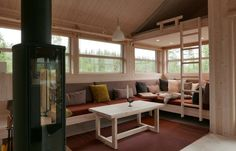 Modular Cabins, Built In Couch, Screened In Patio, Interior Decorating, Interior Design, Decorating Ideas, Cabins In The Woods, Midcentury Modern, Small Spaces