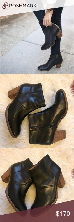 """{Madewell} Winston Boot Size 11 Like new, barely worn! You'll be hooked the moment you slip them on: In the richest Italian leather with a subtle worn-in finish, they're as perfect with dresses as they are with skinny jeans. And for such stylish works of art, the price is molto bene. Make me an offer! Hits at ankle. Inside zip. Leather upper and lining. 3 3/4"""" shaft height (based off size 7). 9 3/4"""" shaft circumference (based off size 7). 2 1/4"""" stacked heel. Man-made sole. Made in Romania…"""