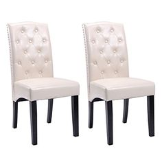 2d666bbea56c Set of 2 Dining Chairs PU Leather Tufted Armless Accent Home Kitchen  Furniture Dining Room Furniture