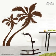 Large wall decals PALM TREE Vinyl stickers decor  - Contemporary interior designs by Decals Murals