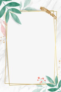 Golden rectangle with watercolor leafy frame vector | premium image by rawpixel.com / Toon Framed Wallpaper, Flower Background Wallpaper, Flower Phone Wallpaper, Cute Wallpaper Backgrounds, Flower Backgrounds, Cute Wallpapers, Iphone Wallpaper, Instagram Frame Template, Photo Collage Template