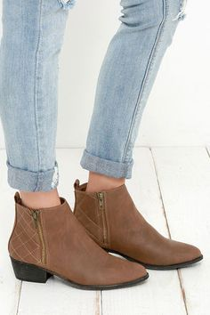 Madden Girl Holywood Cognac Ankle Boots at Lulus.com!
