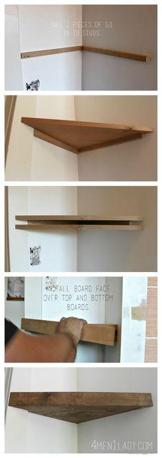 How to make corner floating shelves. 4men1lady.com Office DIY Decor, Office Decor, Office Ideas #DIY