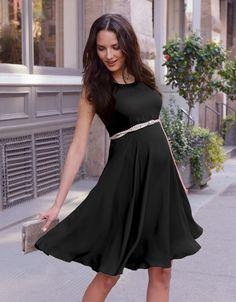 Black Maternity Swing Dress >>> www.seraphine.com #MaternityStyle #Preggo #BumpStyle #PregnantFashionista #DayToNightDress #PreggoFashion #Maternity