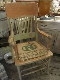 I like this chair cover. My grandpas rocking chair needs to be finished and covered.  I think I will paint, distress, stain and then poly.  Now I just need to choose colors.