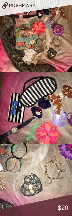 SALE!!! Girls Claire's Bundle Girls Claire's bundle including a forever scarf, purse, two packs of earrings, bow earrings, two watches, 4 hair accessories, a wallet, sleep mask. All was my daughter's that she either didn't use or has out grown!) Claire's Accessories Jewelry
