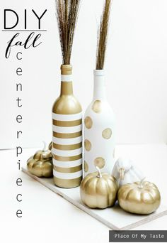 Transform some empty wine bottles from your last party into this beautiful DIY Fall Centerpiece! It's incredibly easy to spruce up your entertaining space with this tutorial.