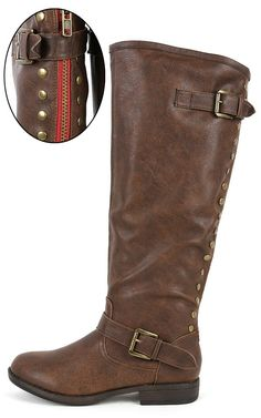 Bamboo Montage-83 Studded Riding Boots BROWN