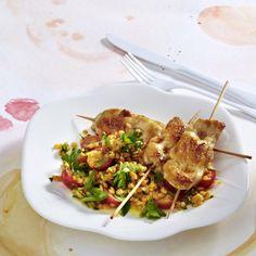 Süßscharfer Linsensalat mit Hähnchenspießen Rezept