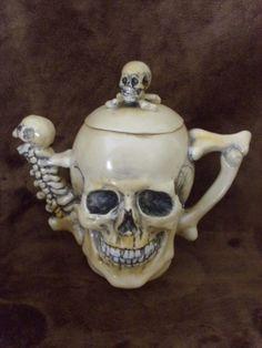Rare Antique Late 1800s SKULLS Fine Porcelain Teapot Tea Cup Saucer & creamer