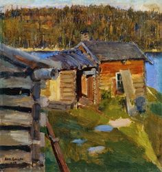 Hand painted reproduction of the painting The Ekola Croft in Evening Sunlight by Akseli Gallen Kallela. Commission your beautiful hand painted reproduction of The Ekola Croft in Evening Sunlight. Scandinavian Paintings, Scandinavian Art, Helene Schjerfbeck, Impressionist Paintings, Landscape Paintings, Croft, Life Paint, Paintings I Love, Russian Art
