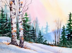 watercolor winter scenes | Watercolor Painting Winter Scene Barn And Pond Stock Pictures