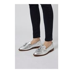 TopShop Karl Tassel Loafer ($61) ❤ liked on Polyvore featuring shoes, loafers, silver, real leather shoes, leather tassel loafers, leather slip on shoes, leather slip-on shoes and slip on loafer