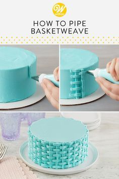 The buttercream basketweave technique turns simple cakes into beautiful treats! … The buttercream basketweave technique turns simple cakes into beautiful treats! This piping technique creates a two-dimensional classic woven look… Cake Decorating Frosting, Creative Cake Decorating, Cake Decorating Tutorials, Creative Cakes, Cookie Decorating, Decorating Cakes, Cake Decorations, Decorating Ideas, Beginner Cake Decorating