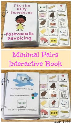 This interactive book works on reduction of the phonological process of Postvocalic Devoicing in a fun and silly way. This book uses minimal pairs and silly pictures to teach students that substituting one sound of the word changes the meaning. Articulation Activities, Speech Therapy Activities, Phonics, Speech Pathology, Speech Language Pathology, Speech And Language, Phonological Processes, Phonological Awareness, Minimal Pair