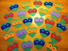 Ninja turtle valentines- when the boys get older! Valentines Day Food, Kinder Valentines, Valentine Box, Valentine Day Crafts, Funny Valentine, Valentine Ideas, Valentine Stuff, Valentinstag Party, Holiday Fun