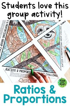 Engaging activity for 6th grade math students. Group work based on Common Core standards for writing ratios and solving proportional relationships. Coloring activity makes it fun, but the challenging problems will make them think! Fun Math Activities, Hands On Activities, Math Teacher, Math Classroom, Ratios And Proportions, Math Groups, Hands On Learning, Math Concepts, Group Work