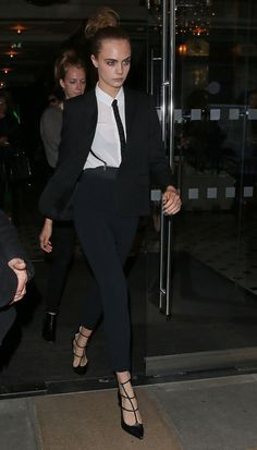 Cara Delevingne in suit Leaving a Hotel in London