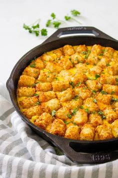 This Tater Tot Breakfast Casserole Has Super Creamy Eggs, Bacon And 2 Kinds Of Cheese! It's Easy To Make Ahead Of Time And Is Perfectly Freezer-friendly!. Vegetarian Breakfast Casserole, Tater Tot Breakfast Casserole, Breakfast Meat, Vegan Casserole, Vegan Breakfast Recipes, Vegetarian Recipes, Breakfast Time, Casserole Dishes, Dinner Recipes