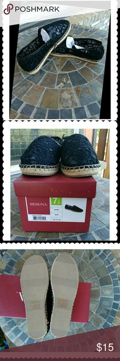 Merona  Wendy shoes Beautiful black Lacey look.  Keep your feet cool with these espadrilles..  Modeled them so you can see them on. Merona Shoes Espadrilles