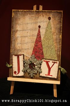 Scrappy Chick Designs: Christmas Altered Canvas~