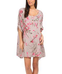 100% LIN BLANC Beige & Fuchsia Roll-Tab Sleeve Linen Shift Dress - Women & Plus | zulily