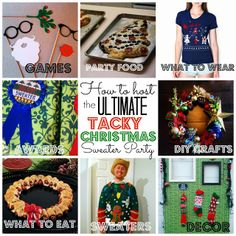 Using this to plan my Tacky Christmas Sweater Party-- tons of ideas for food, invites, decor, diy crafts and more! @craftytexasgirls.com #ta...