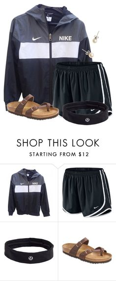 """""""Finally going shopping """" by flroasburn ❤ liked on Polyvore featuring NIKE, lululemon, Birkenstock and J.Crew"""