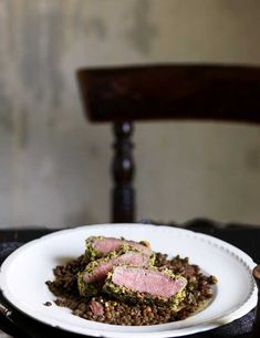 Tom Kerridge's herb-crusted lamb with lentils Lamb Recipes, Chef Recipes, Cooking Recipes, Dinner Party Recipes, Dinner Parties, Tom Kerridge, Lamb Dishes, Just Cooking, Fine Dining