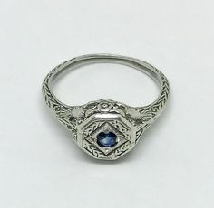 Vintage Sterling Silver Blue Sapphire Birds and Flowers Filigree Art Nouveau Engagement Wedding Promise Ring Size 6 Gift For Her by AdornedInHistory on Etsy