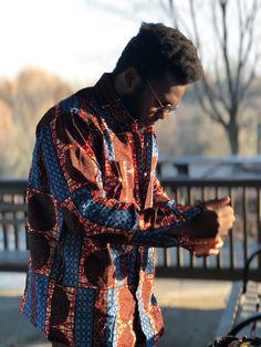 Denim Blue/Copper Men's Shirt, African Print Shirt, Ankara Shirt